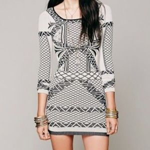 NWT Free People Bodycon Dress taupe/black